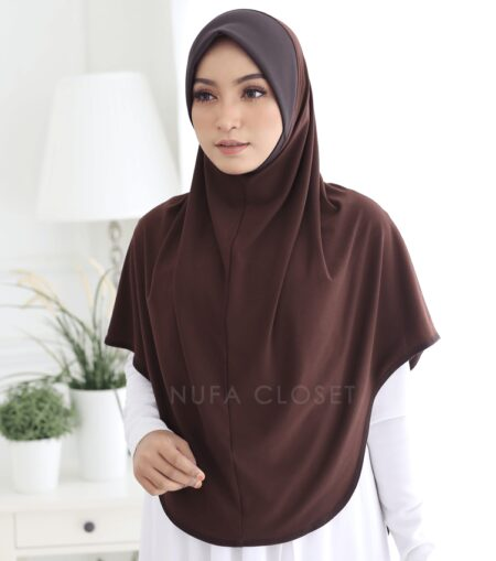 Tudung Instant XL Zinnirah Exclusive - Dark Brown