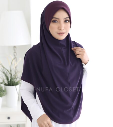 Tudung Instant XL Zinnirah Exclusive - Dark Purple