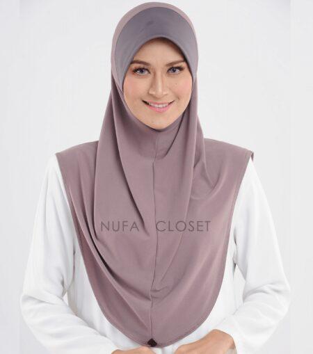 Tudung Instant Muslimah Khadijah - Brown Grey