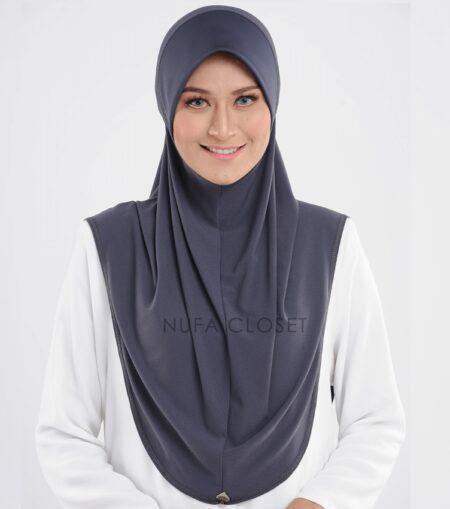 Tudung Instant Muslimah Khadijah - Dark Grey