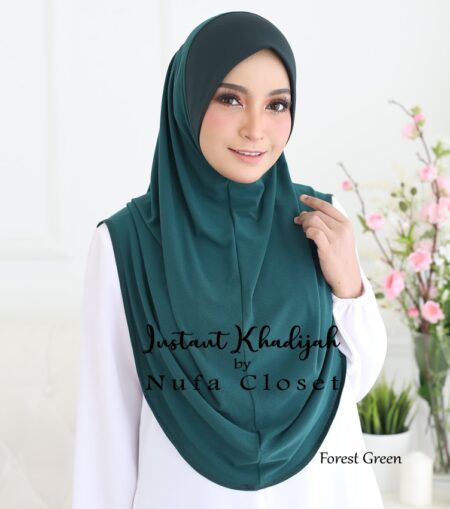 Tudung Instant Muslimah Khadijah - Forest Green