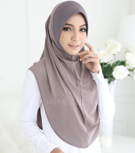 Tudung Instant XL Zinnirah Exclusive - Brown Grey