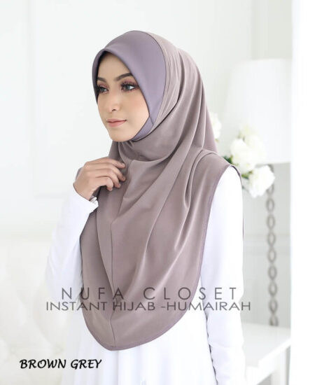 Instant Humairah Exclusive - Brown Grey