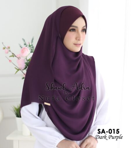 Instant Shawl Muslimah Adra – Dark Purple